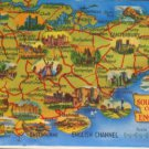POSTCARD MAP OF THE SOUTH EAST CORNER OF ENGLAND