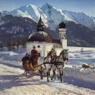 Frohe schlittenfahrt in seefeld postcard Austria