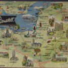 MAP OF SOMERSET Postcard 1964  by DENNIS
