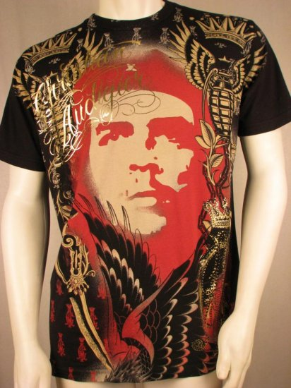 CHRISTIAN AUDIGIER Black w/ Gold Foil 'EL CHE' Rhinestone T Shirt, XXL, 2XL