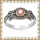 Beautiful Victorian Style Marcasite and Mother of Pearl Ring Sz 6