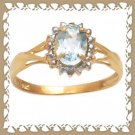 Lovely Genuine Sky Blue Topaz 10K Gold Ring Sz 6.75