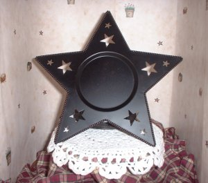 Black Star Candle Plate