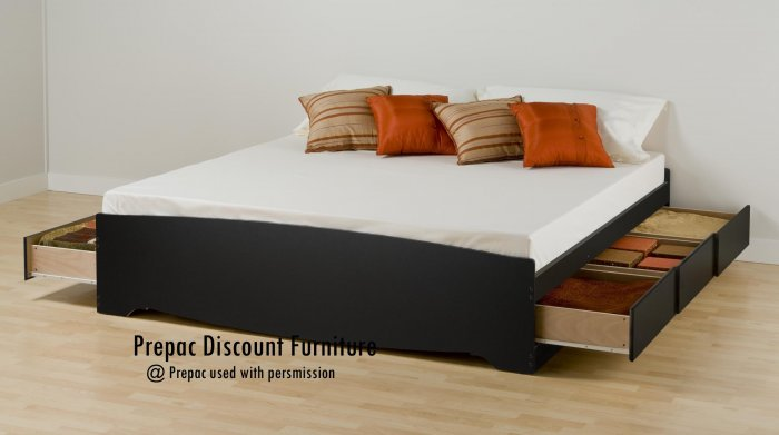 KING PLATFORM BED WITH 6 DRAWER STORAGE IN BLACK COLOR BY PREPAC