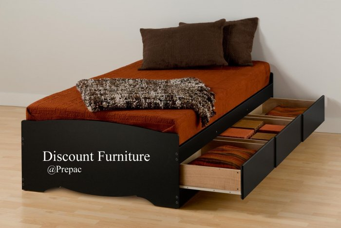 LONG TWIN PLATFORM BED WITH 3 DRAWER STORAGE IN BLACK COLOR BY PREPAC