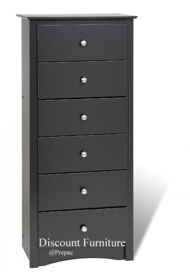 6 DRAWER BLACK TALL/LINGERIE CHEST BY PREPAC