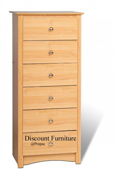 6 DRAWER MAPLE TALL/LINGERIE CHEST BY PREPAC