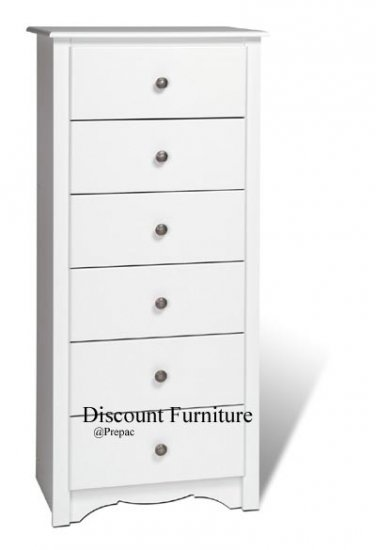 6 DRAWER WHITE TALL/LINGERIE CHEST BY PREPAC
