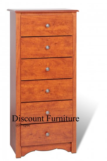 6 DRAWER CHERRY TALL/ LINGERIE CHEST BY PREPAC