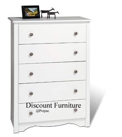 5 DRAWER WHITE CHEST BY PREPAC