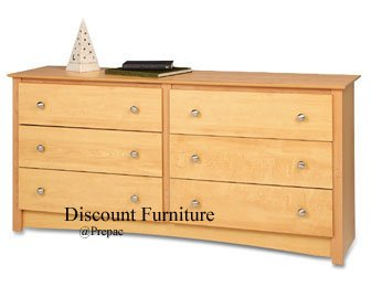 6 DRAWER MAPLE COLOR DRESSER BY PREPAC