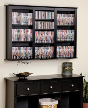 TRIPLE CD, DVD, VHS BLACK MEDIA FLOATING/HANGING WALL STORAGE