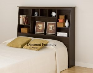 TALL/SLANT HEADBOARD FOR DOUBLE/QUEEN BED ESPRESSO COLOR PREPAC