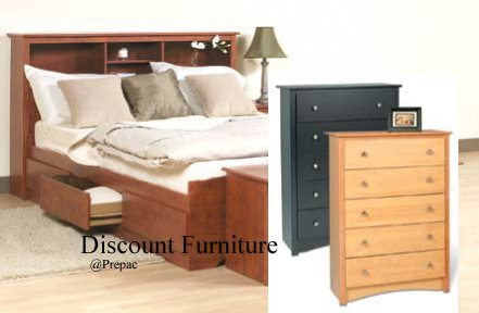 FULL MATES BEDROOM SET BED, HEADBOARD, 5 CHEST DRAWERS BY PREPAC