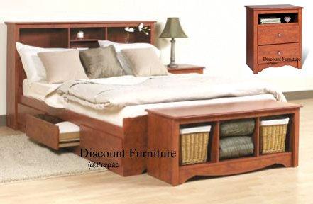 CHERRY QUEEN MATES BEDROOM SET- HDBOARD, BED, 2 NIGHTST, BENCH BY PREPAC