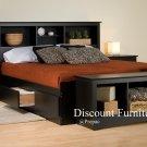 BLACK QUEEN MATES BEDROOM SET- HDBOARD, BED, 2 NIGHTST, BENCH BY PREPAC