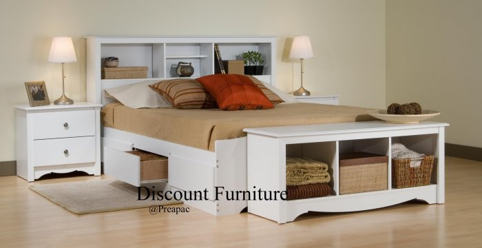 WHITE QUEEN MATES BEDROOM SET- HDBOARD, BED, 2 NIGHTST, BENCH BY PREPAC