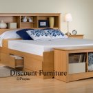 MAPLE QUEEN MATES BEDROOM SET- HDBOARD, BED, 2 NIGHTST, BENCH BY PREPAC