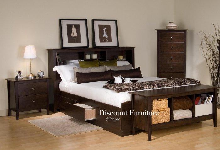 ESPRESSO QUEEN MATES BEDROOM SET- HDBOARD, BED, NIGHTST, BY PREPAC