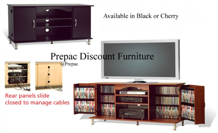 42� PLASMA TV CONSOLE W/MEDIA STORAGE BY PREPAC BLACK