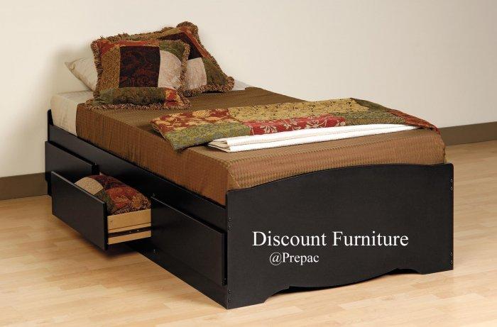 BLACK TWIN PLATFORM/MATES BED WITH 3 DRAWER STORAGE