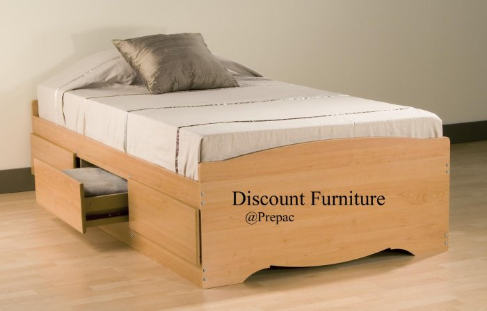 MAPLE TWIN PLATFORM BED WITH 3 DRAWER STORAGE