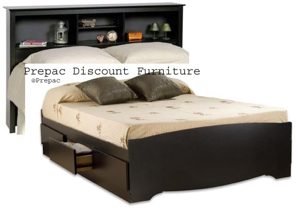 BLACK QUEEN MATES BEDROOM SUITE - HEADBOARD & BED