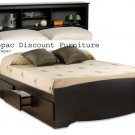 BLACK QUEEN MATES BEDROOM SUITE - HEADBOARD & BED