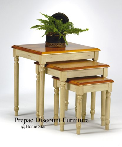 SOLID WOOD SET 3 NESTING TABLES ANTIQUE WHITE W/CHERRY TOPS