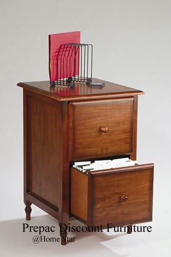 SOLID WOOD 2 DRAWER FILE CABINET IN BURNISHED CHERRY FINISH KNOB HILL COLLECTION