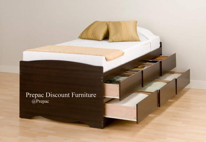 TALL ESPRESSO TWIN PLATFORM BED W/6 DRAWER STORAGE