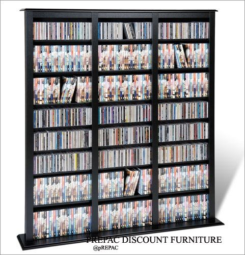 BLACK CD/DVD/VHS MEDIA STORAGE BARRISTER TOWER