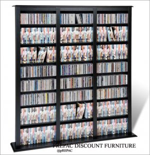 BLACK CD/DVD/VHS MEDIA STORAGE BARRISTER TOWER