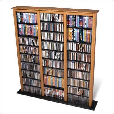 OAK CD/DVD/VHS MEDIA STORAGE BARRISTER TOWER