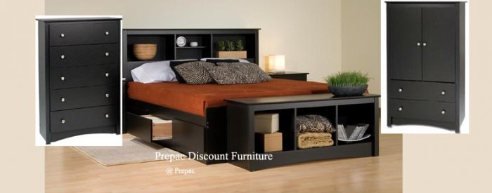 FULL MATED BEDROOM SET � BED, HEADBOARD, AMOIRE, CHEST, BENCH