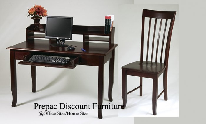 SOLID WOOD COMPUTER WRITING DESK  & CHAIR WINE STAIN