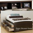 TALL QUEEN ESPRESSO MATES BEDROOM SET BOOKCASE HEADBOARD & BED