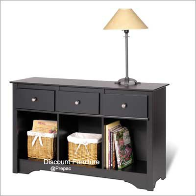 LIVING ROOM CONSOLE COUCH TABLE BLACK COLOR