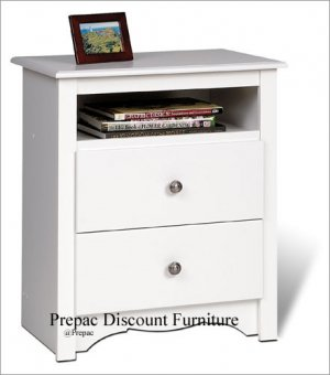 WHITE 2 DRAWER TALL CUBBIE NIGHT STAND BY PREPAC
