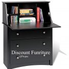 BLACK SECRETRARY  WRITING DESK W/3 DRAWERS BY PREPAC