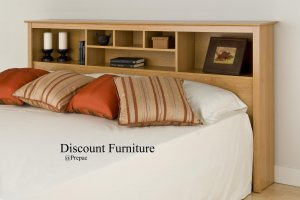 KING SIZE BOOKCASE HEADBOARD MAPLE COLOR