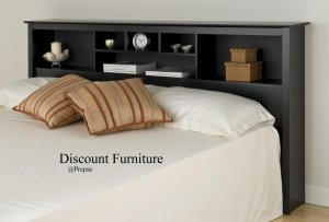 KING SIZE BOOKCASE HEADBOARD BLACK COLOR