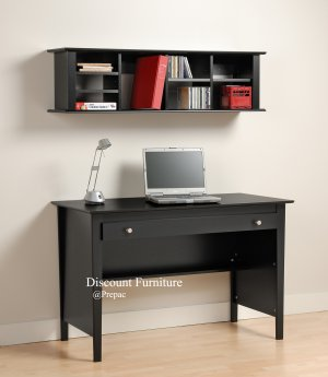 BELCARRA BLACK DESK W/LARGE WORK AREA & HUTCH