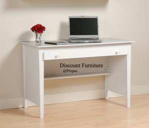 BELCARRA WHITE DESK W/LARGE WORK AREA & HUTCH