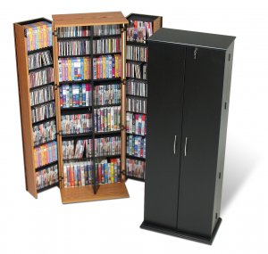 LARGE BLACK DVD CD VIDEO DELUXE STORAGE WITH LOCK