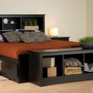 BLACK  QUEEN MATES BEDROOM SET- HEADBOARD, BED, ARMOIRE, BENCH