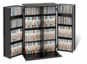 SMALL BLACK CD/DVD CABINET W/SHAKER DOOR