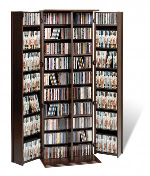 LARGE ESPRESSO MEDIA CABINET WITH SHAKER DOORS
