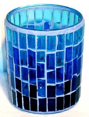 Candle Holder: Blue Mosaic Votive