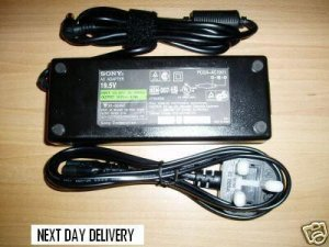 SONY VAIO LAPTOP AC ADAPTER/POWER SUPPLY WITH UK POWER CORD ( £20.99 only including delivery)